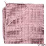 Ceba fürdőlepedő kapucnis 100x100cm gofri silver pink