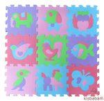 Freeplay Puzzle Játszószőnyeg - Állatok (Lila, Zöld Elefánt)